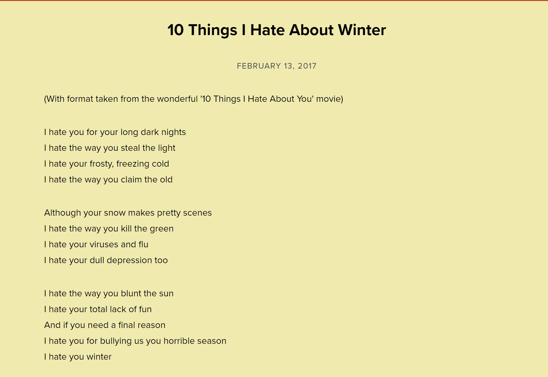 10 Things I Hate About Winter by Neal Zetter