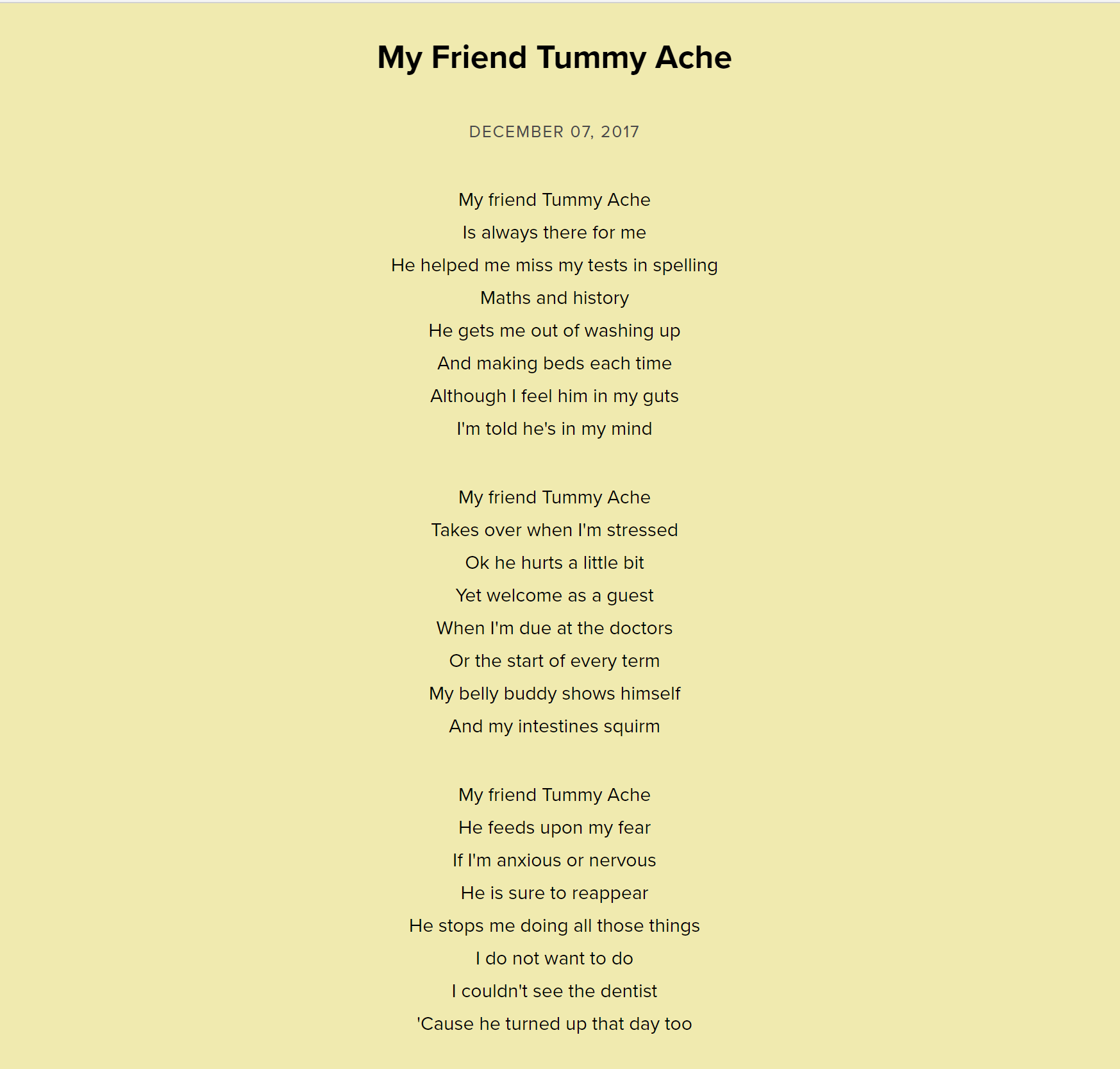 My Friend Tummy Ache by Neal Zetter