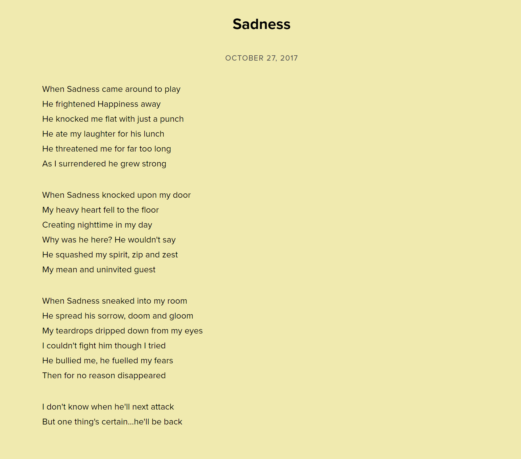 Sadness by Neal Zetter