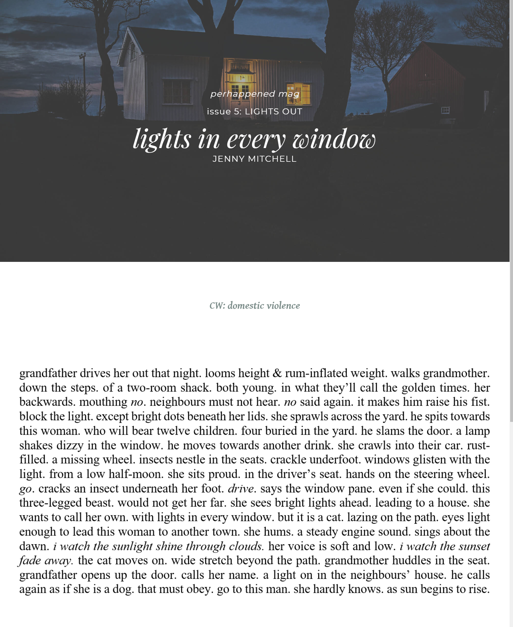 Lights in every window by Jenny Mitchell