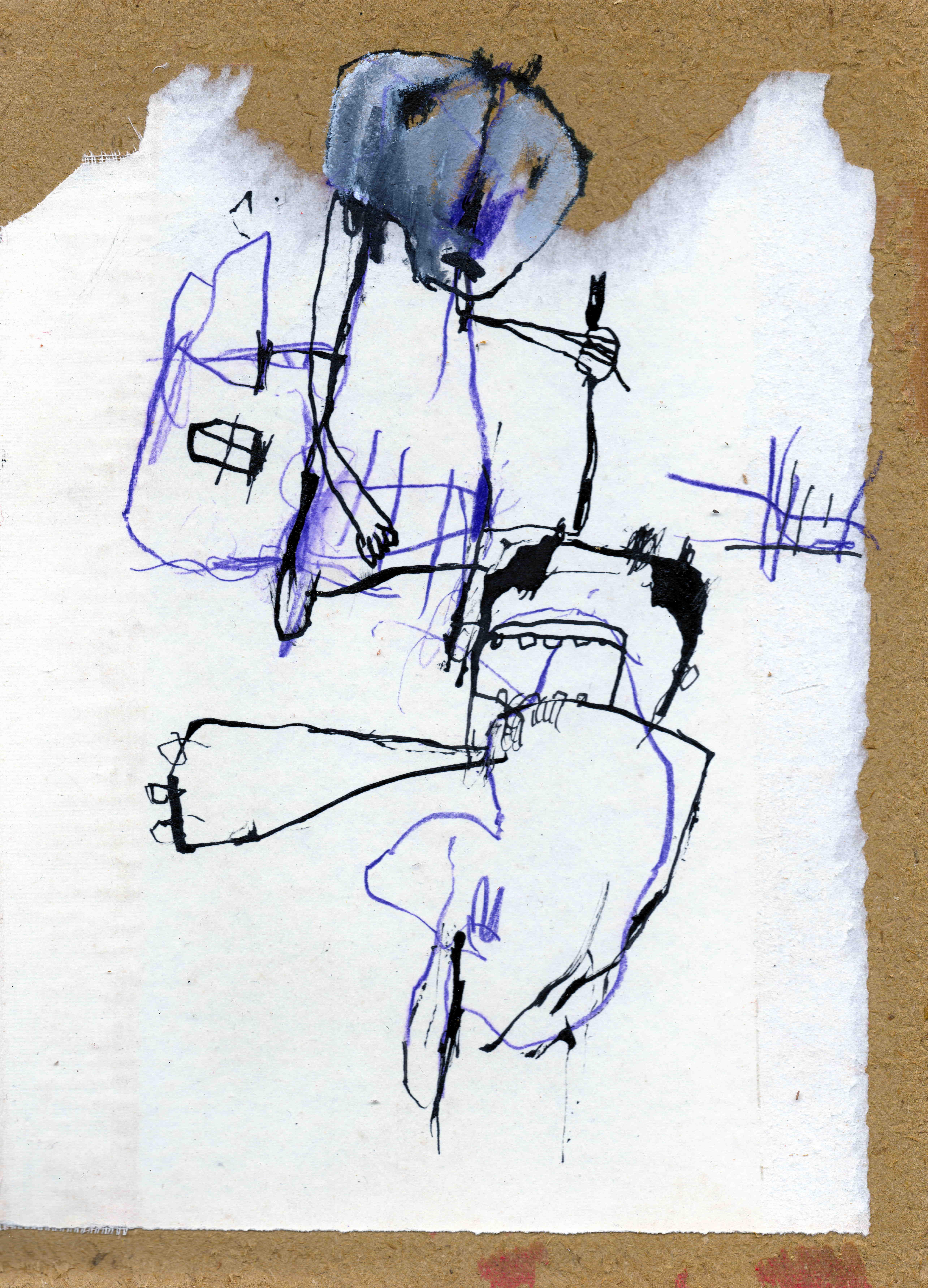 MH14 De verlosser, mixed media on card board, 18,5 x 25,4 cm, 2019