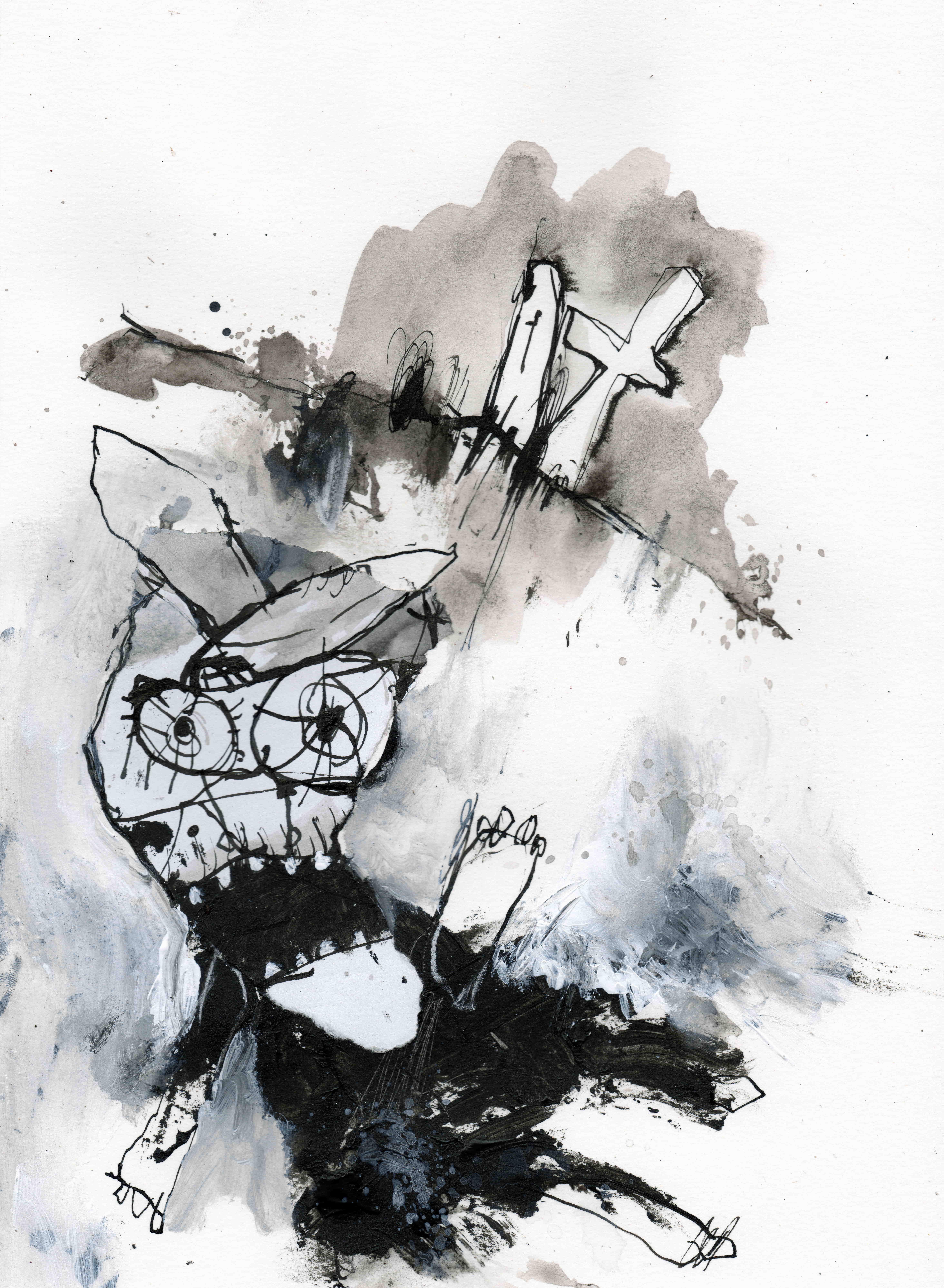 MH15 Dead poet, mixed media on paper, 21 x 29,7 cm, 2020