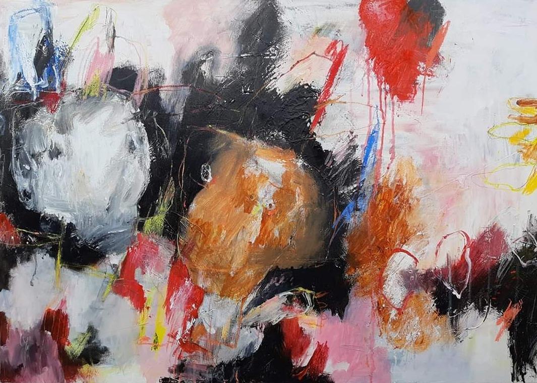 MH17 Domoren en dromers, mixed media on canvas, 100 x 70 cm, 2020 v