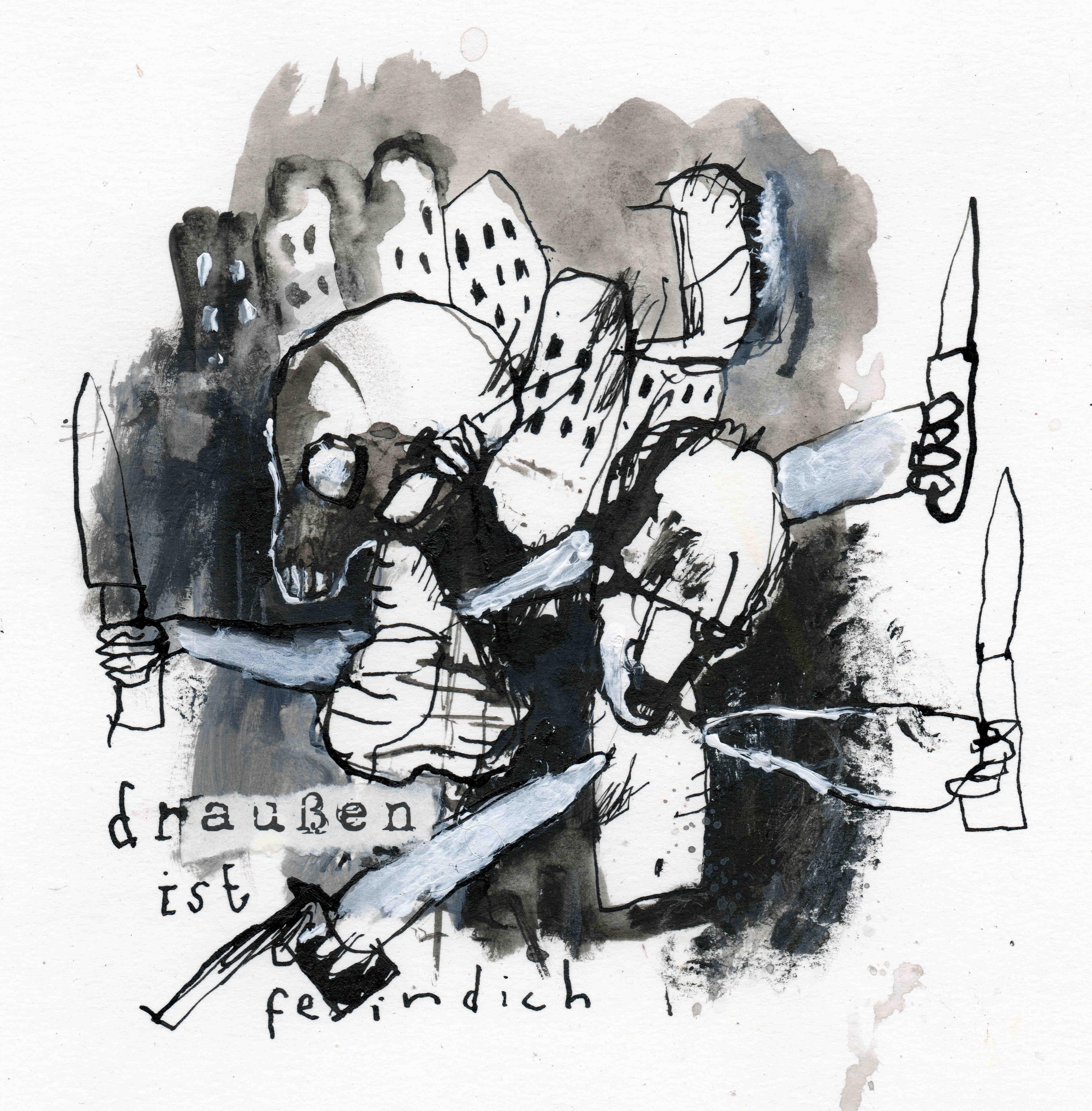 MH18 Draussen ist feindlich, mixed media on paper, 17 x 17 cm, 2020