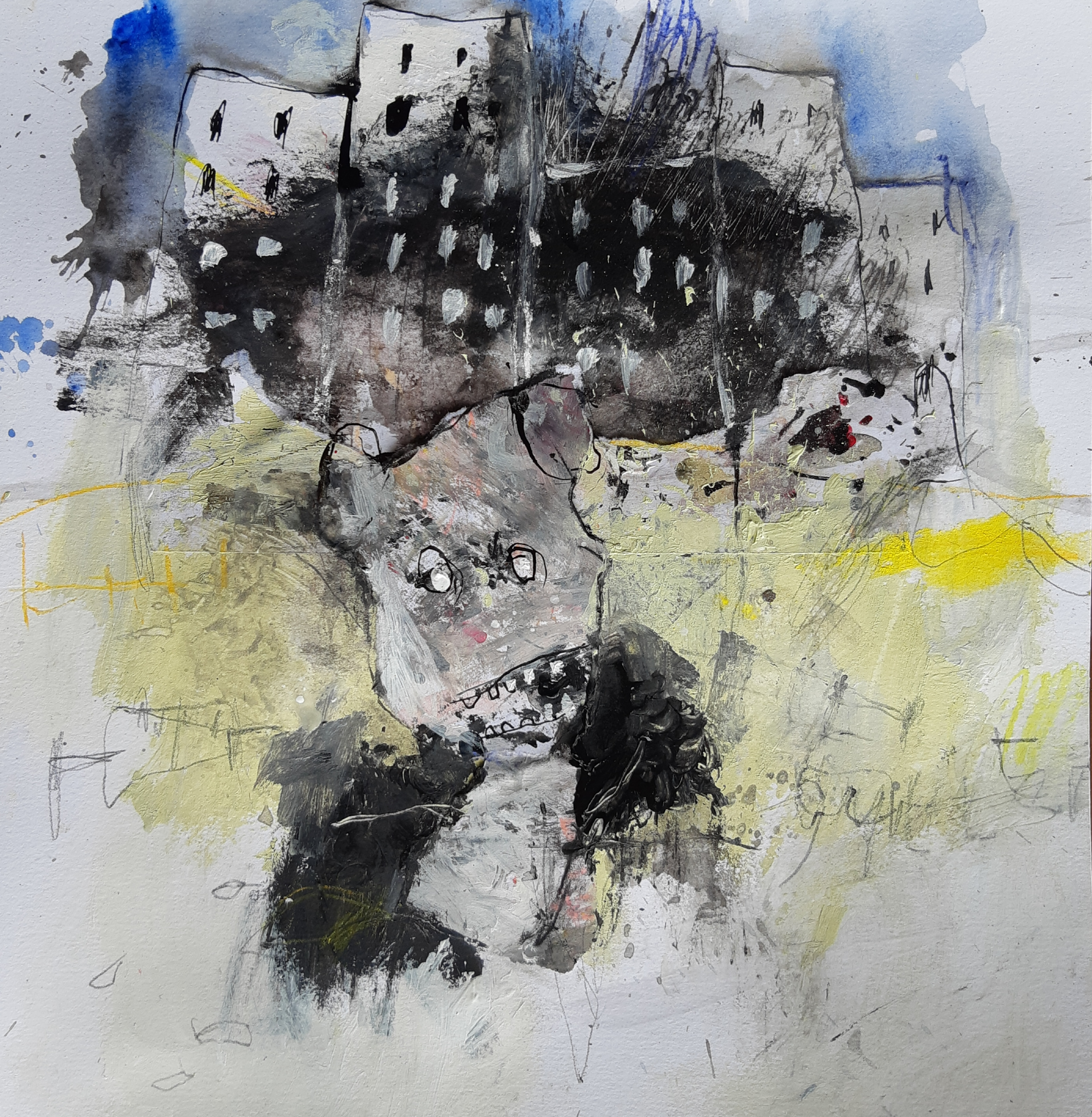 MH22 Kid Blue going to the city, mixed media on paper, 27,5 x 29,7 cm, 2020