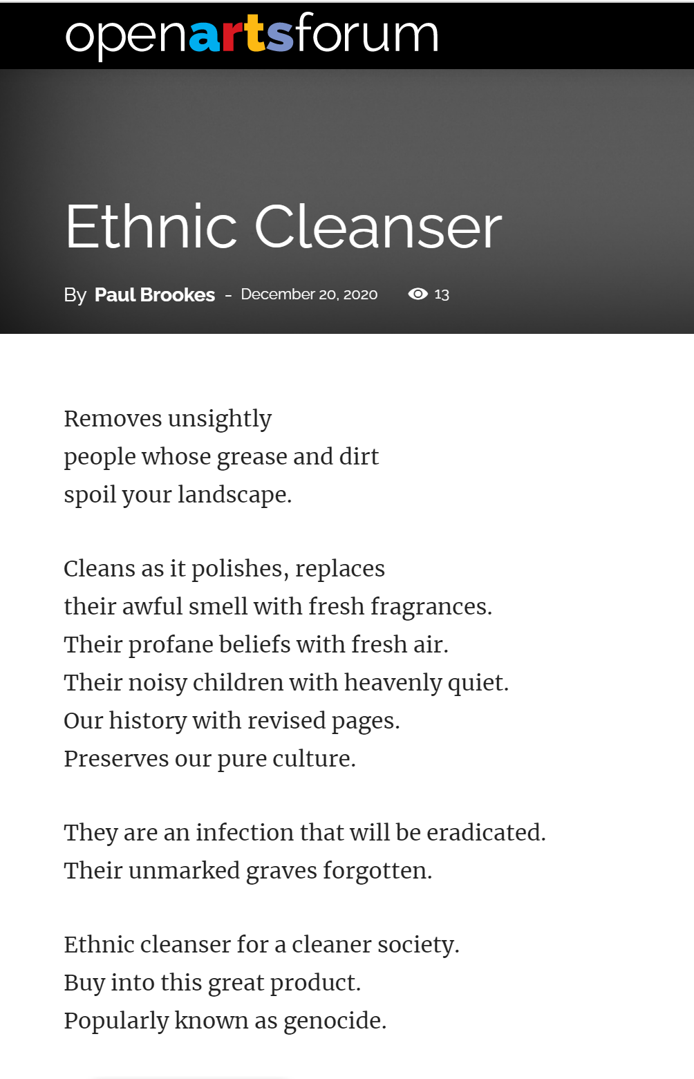 Ethnic Cleanser On OAF