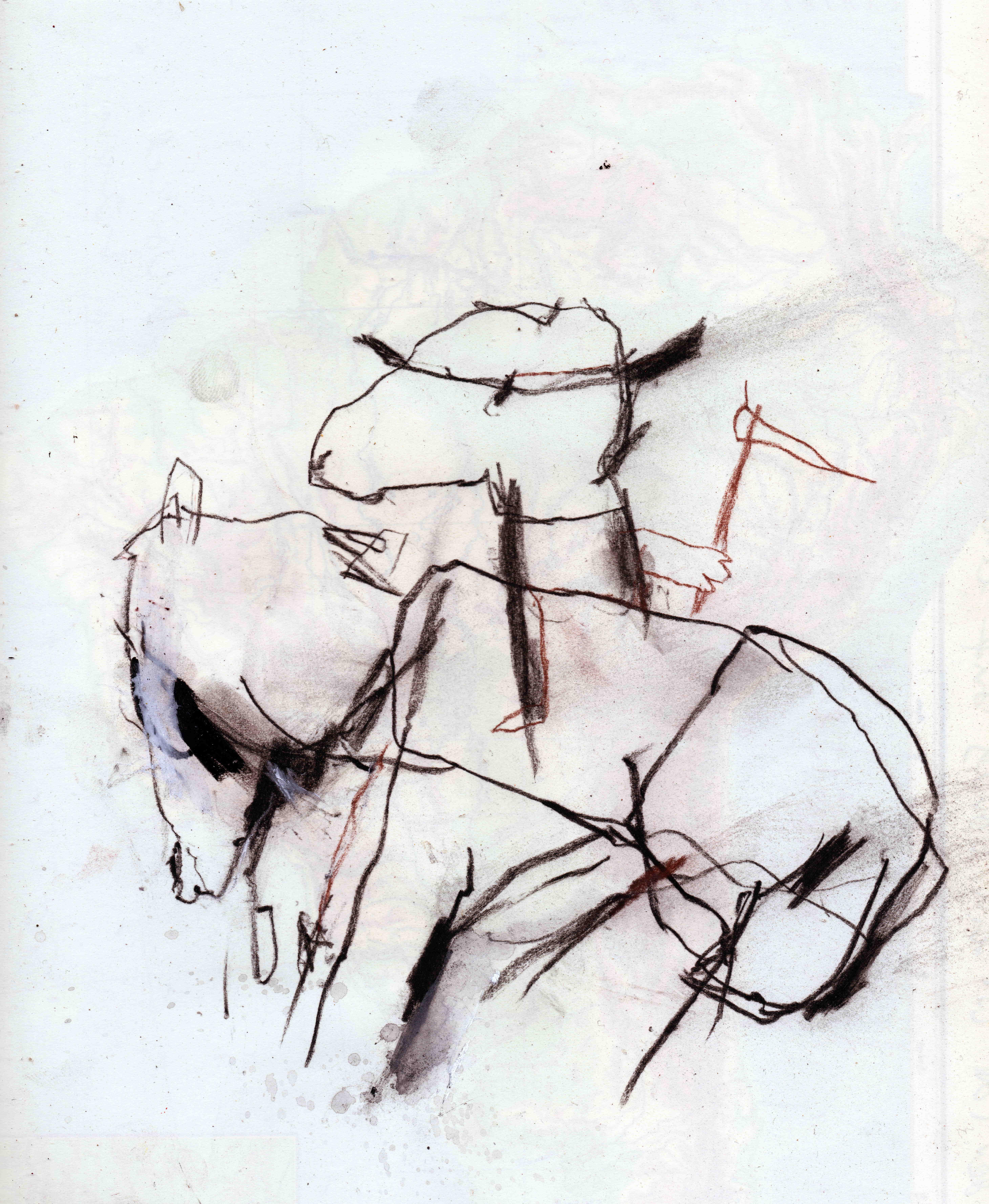 Der Tod ist ein Dandy auf einem Pferd, mixed media on paper, 22,1 x 26,1 cm, 2020 MC8
