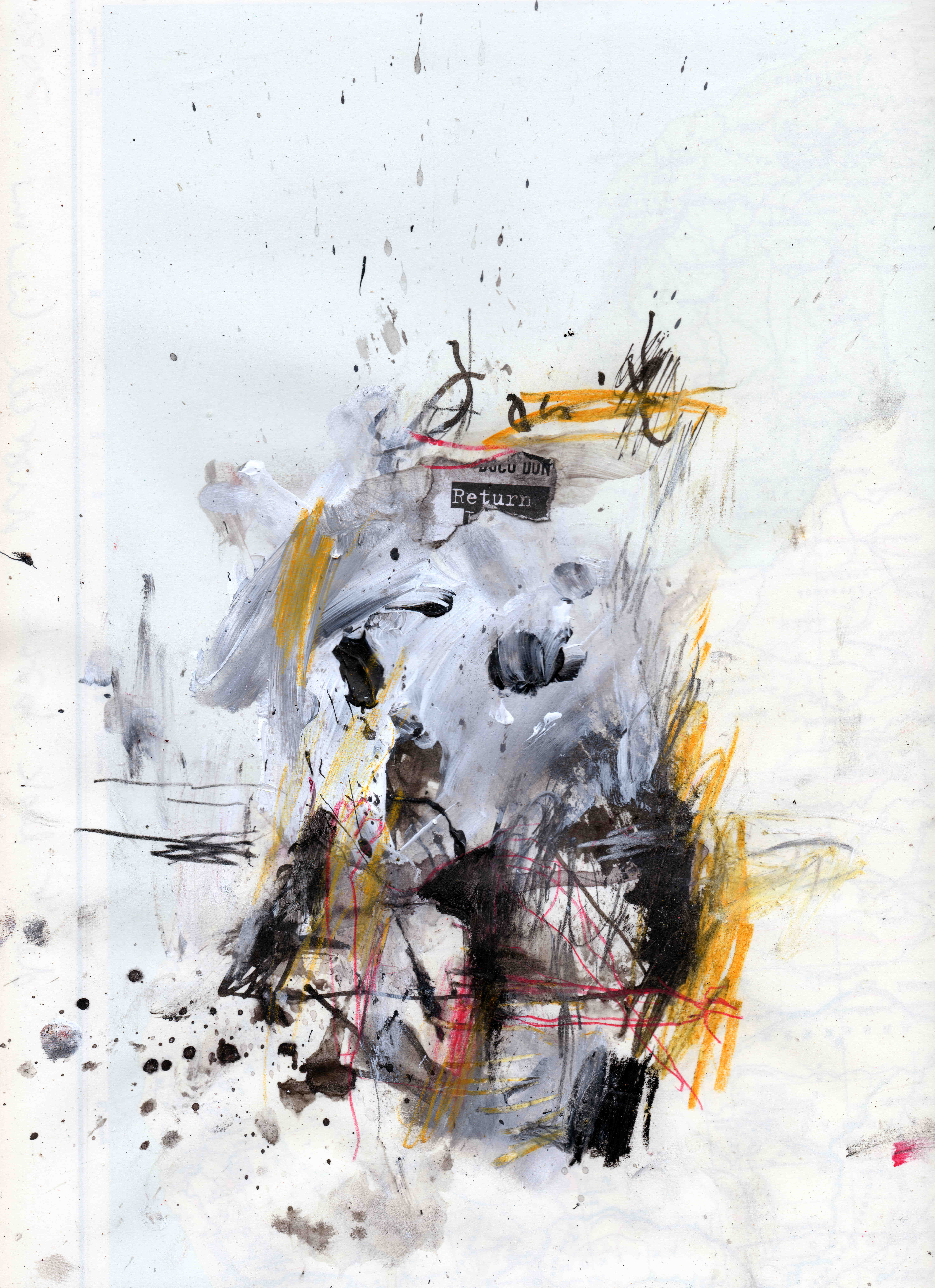 Don't look back, mixed media on paper, 22,7 x 30,5 cm, 2020 MH9