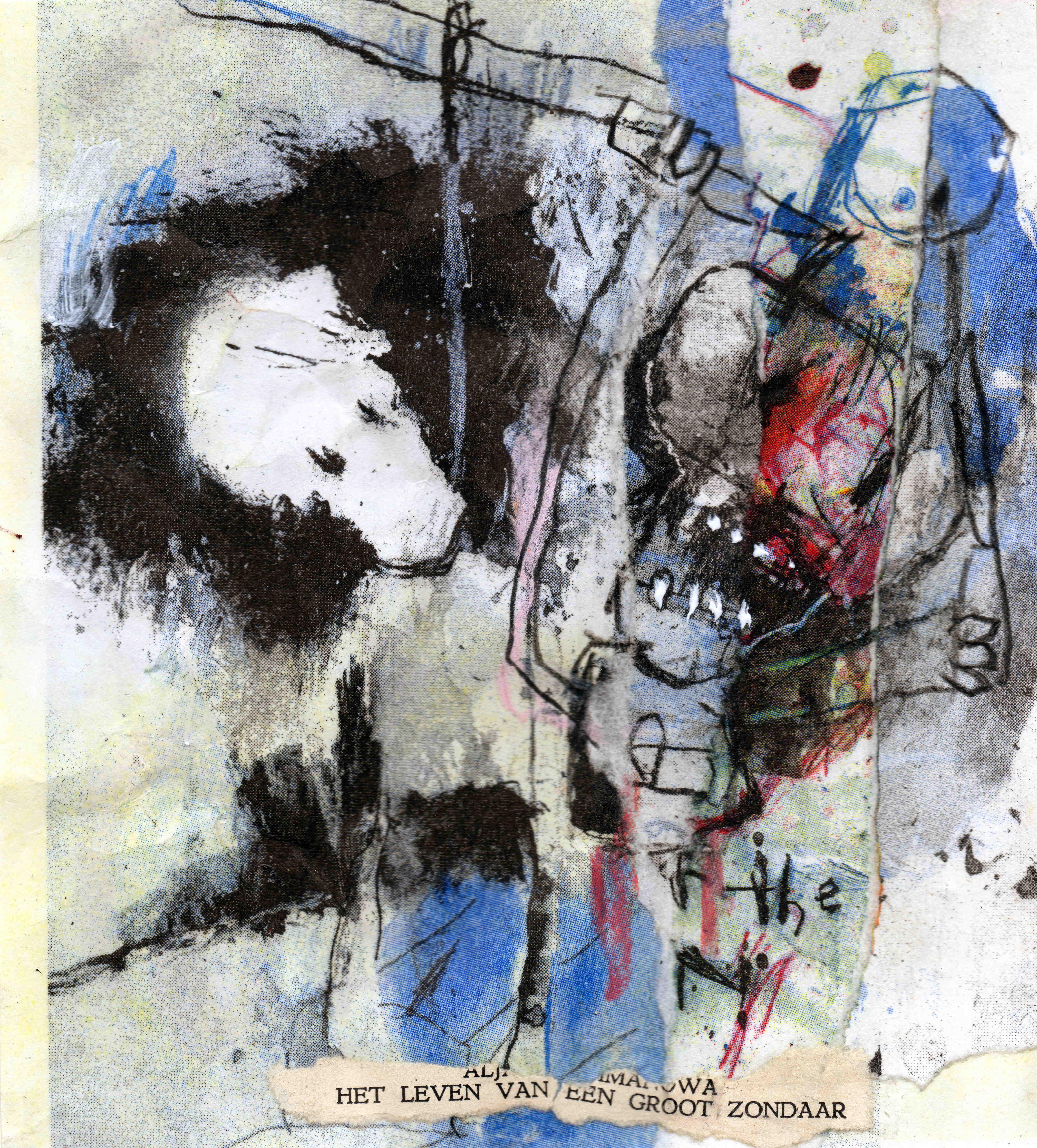 Het leven van een groot zondaar, mixed media on riso print, 14,6 x 16 cm, 2020 MC12