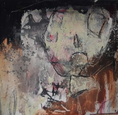 Het zieden, mixed media on wood, 13 x 12 x 4,5 cm, 2021 05 MH29