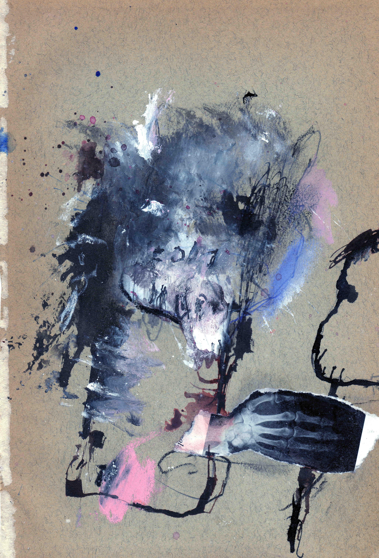 In verkeerde handen, mixed media on paper, 14,5 x 21 cm, 2020 MH19