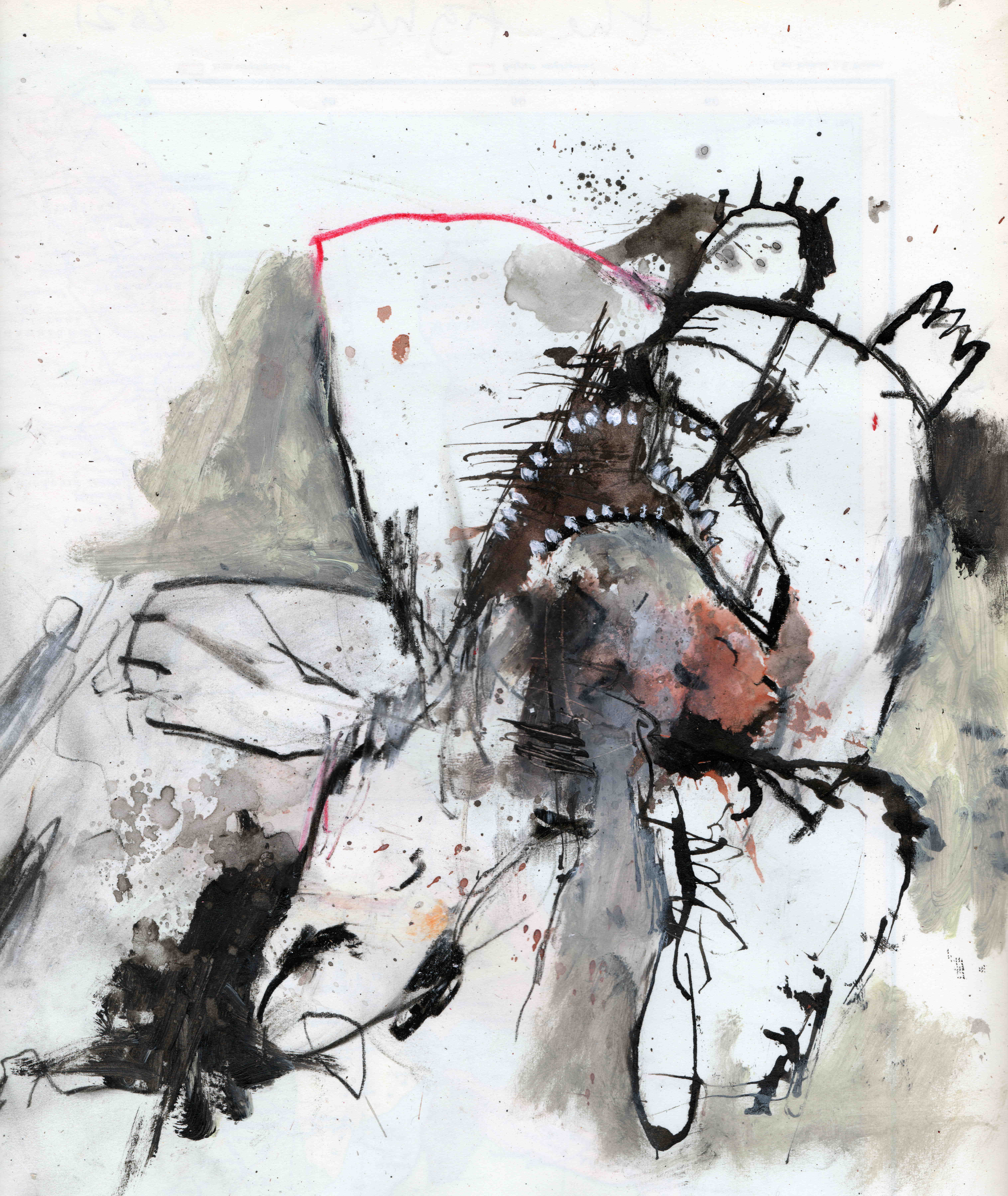 The fight, mixed media on paper, 22,5 x 26 cm, 2021 MHFeb1