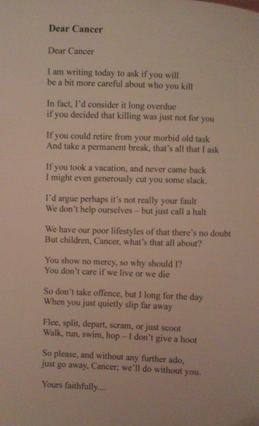 Tm Fellows Cancer poem