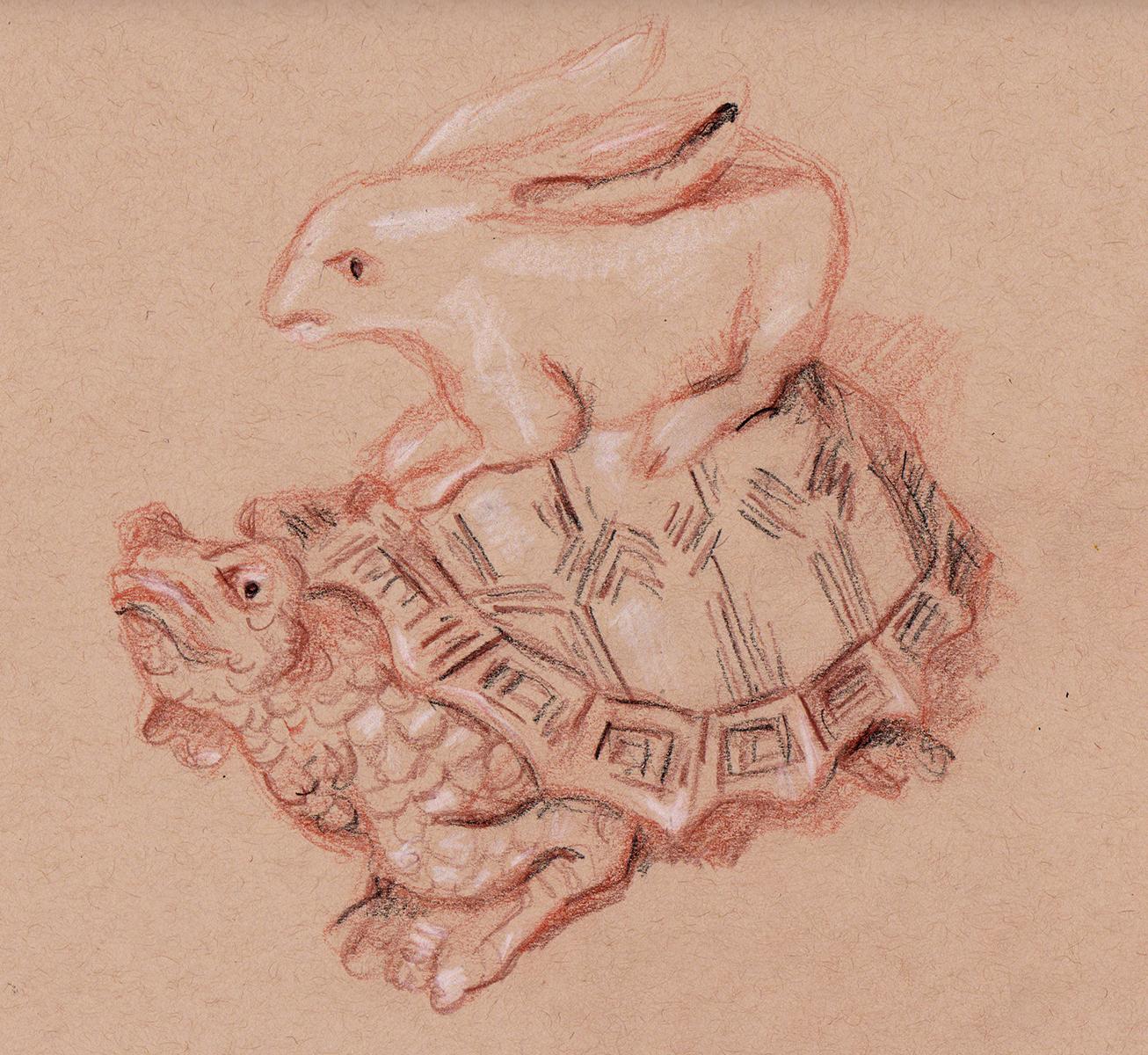 KR3_turtle netsuke with rabbit_wombwell
