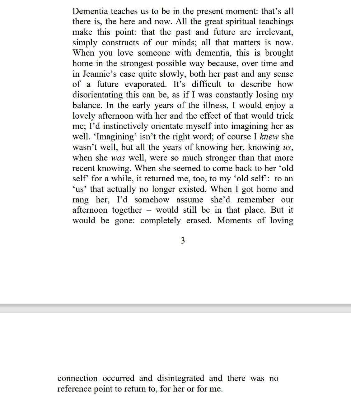 Dementia Teaches from preface of Lock Picker by Sue Proffitt
