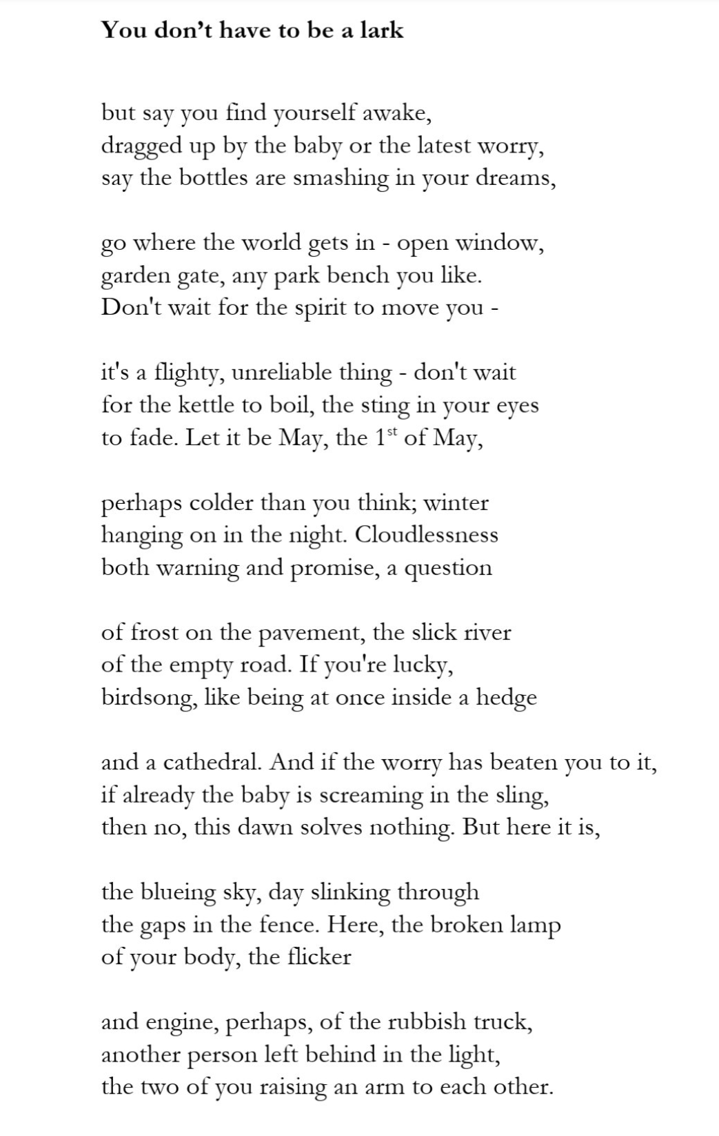 you don't have to be a lark by Jonathon Totman