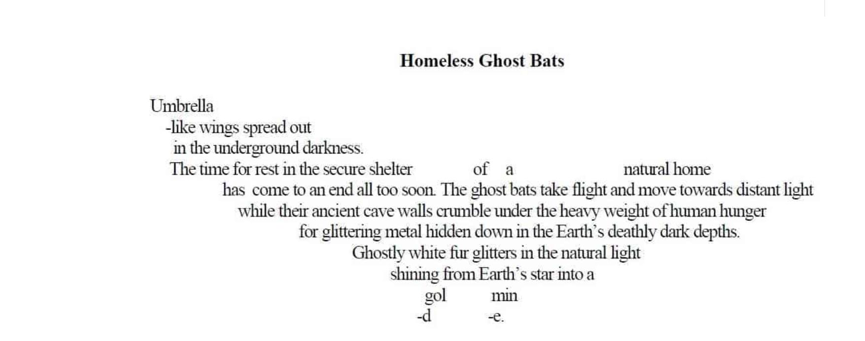 Homeless Ghost bats